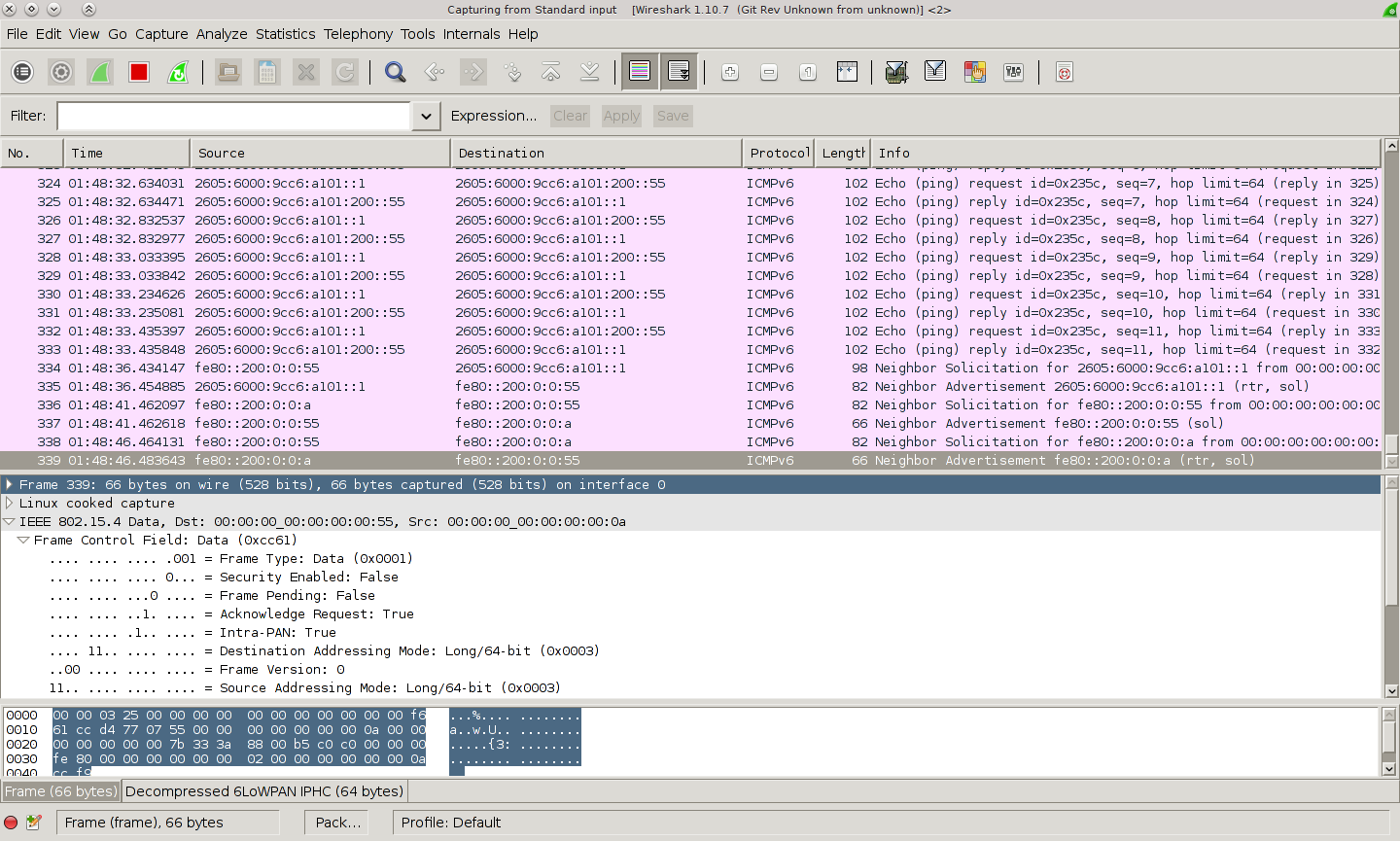 sniffing 802 15 4 packets natively with Raspberry Pi and Wireshark